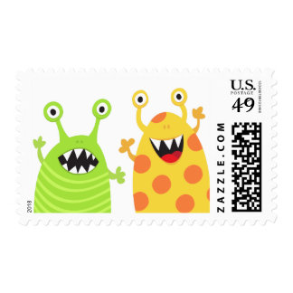 Funny monsters fun cartoon postage stamps for kids