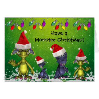Funny Monsters in Santa Hats Monster Christmas Card