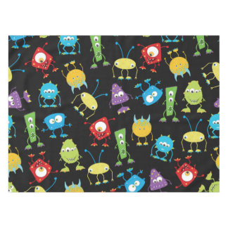 Funny Monsters on Black Tablecloth