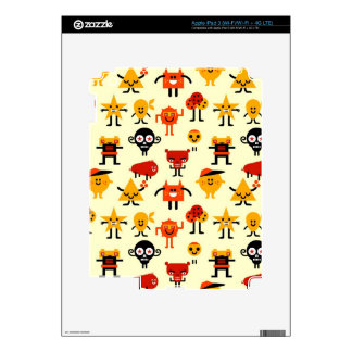 Funny monsters pattern iPad 3 skins