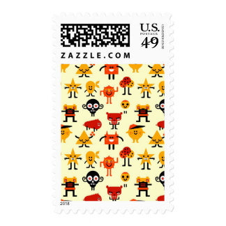 Funny monsters pattern postage stamps