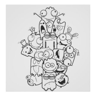 funny monsters poster