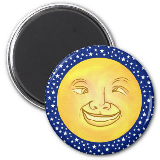 Funny Moon Man Outer Space Vintage 2 Inch Round Magnet