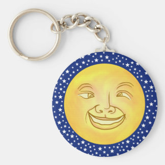 Funny Moon Man Outer Space Vintage Keychain