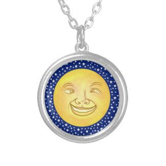 Funny Moon Man Outer Space Vintage Round Pendant Necklace