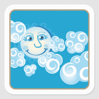 Funny Moon with clouds - square sticker