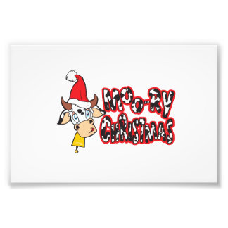 Funny Moory Christmas Cow Moo-ry Gift Wrapper Card Photographic Print