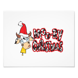 Funny Moory Christmas Cow Moo-ry Gift Wrapper Card Photo Print