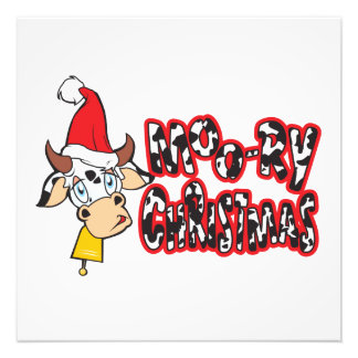 Funny Moory Christmas Cow Moo-ry Gift Wrapper Card Photo Art
