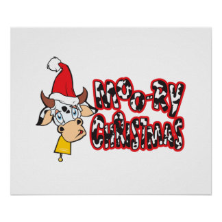 Funny Moory Christmas Cow Moo-ry Gift Wrapper Card Posters
