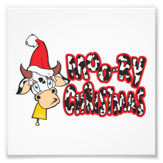 Funny Moory Christmas Cow Moo-ry Invitation Cards Photo Art