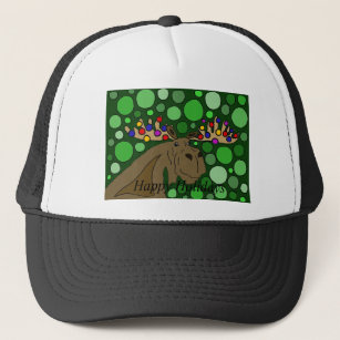 funny moose and christmas lights abstract art trucker hat