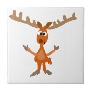 Funny Moose Art Original Tile