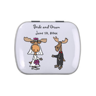 Funny Moose Bride and Groom Jelly Belly Tin