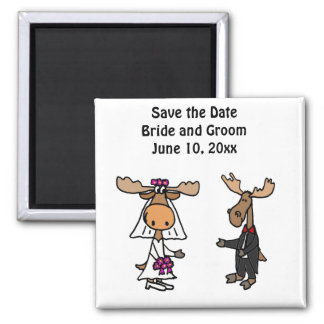Funny Moose Bride and Groom 2 Inch Square Magnet