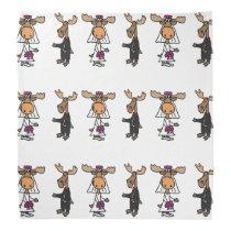Funny Moose Bride and Groom Wedding Design Bandana