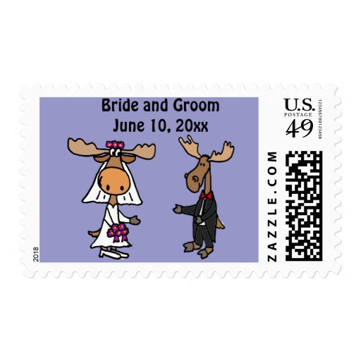 Funny Moose Bride and Groom Wedding Design Postage