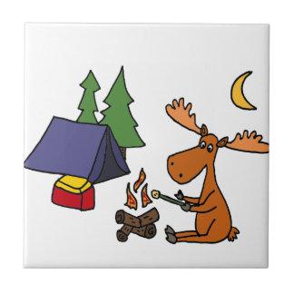 Funny Moose Camping Cartoon Tile