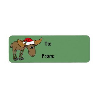 Funny Moose Christmas Gift Tag or Address Label