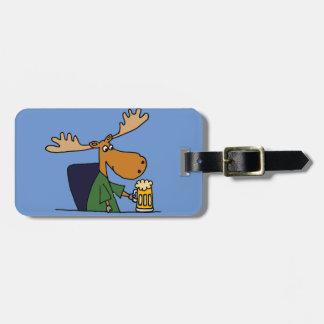 Funny Moose Drinking Beer Cartoon Bag Tag