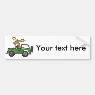 Funny Moose Driving Truck Art Bumper Sticker