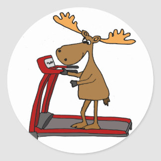 Funny Moose Exercising on Treadmill Cartoon Classic Round Sticker