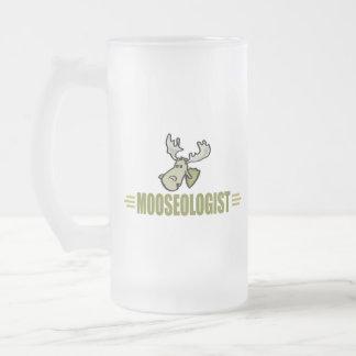Funny Moose Frosted Glass Beer Mug