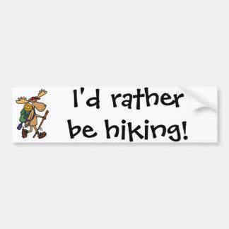 Funny Moose Hiker Bumper Sticker
