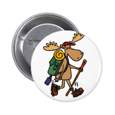 Funny Moose Hiker Pinback Button at Zazzle