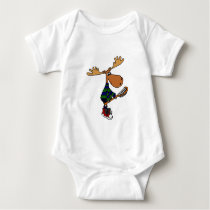 Funny Moose Holding Lacrosse Stick Baby Bodysuit
