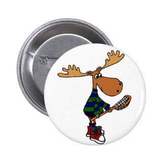 Funny Moose Holding Lacrosse Stick Button
