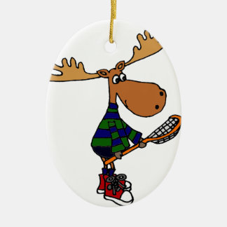 Funny Moose Holding Lacrosse Stick Ceramic Ornament