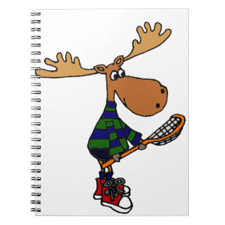 Funny Moose Holding Lacrosse Stick Notebook