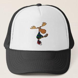 Funny Moose Holding Lacrosse Stick Trucker Hat