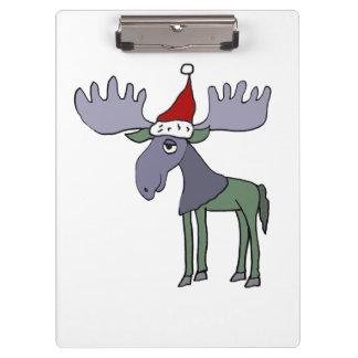 Funny Moose in Santa Hat Clipboard