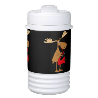 Funny Moose is Playing Red Saxophone Art Cooler