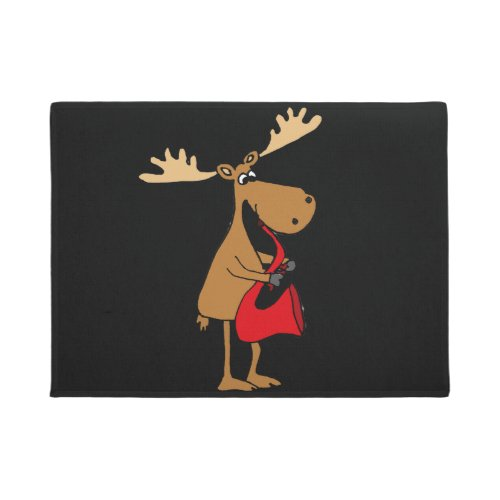 Funny Moose is Playing Red Saxophone Art Doormat