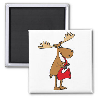 Funny Moose is Playing Red Saxophone Art Magnet
