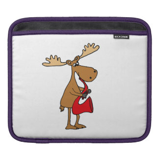 Funny Moose is Playing Red Saxophone Art Sleeves For iPads