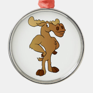 Funny moose metal ornament