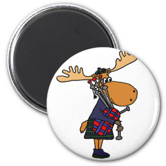 Funny Moose Playing Bagpipes Art 2 Inch Round Magnet