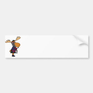 Funny Moose Playing Bagpipes Art Bumper Sticker