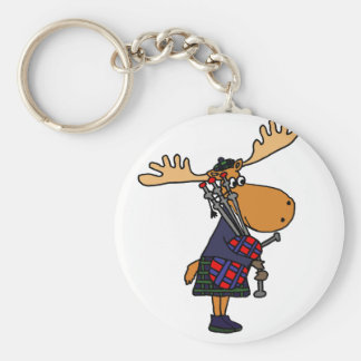 Funny Moose Playing Bagpipes Art Keychain