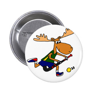 Funny Moose Playing Field Hockey Pinback Button