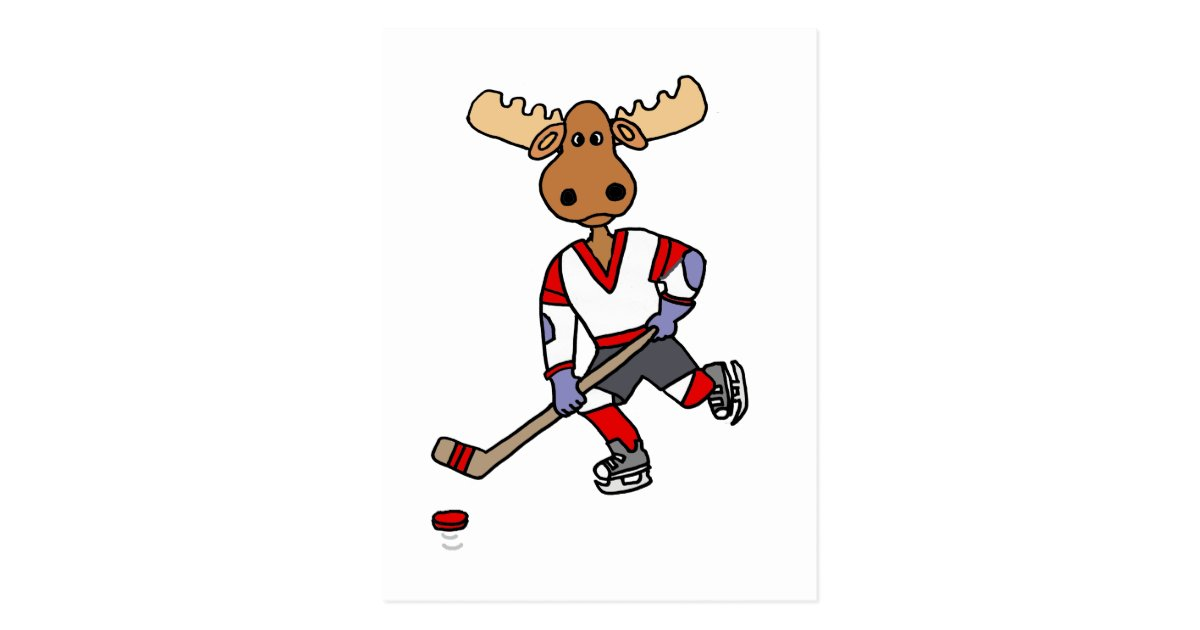 Funny Moose Playing Ice Hockey Cartoon Postcard Zazzle Com