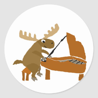 Funny Moose Playing Piano Original Art Classic Round Sticker