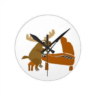 Funny Moose Playing Piano Original Art Round Clock