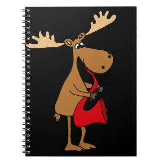 Funny Moose Playing Red Saxophone Original Art Notebook