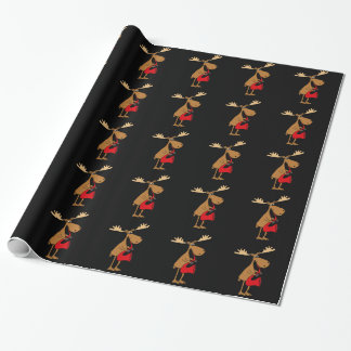 Funny Moose Playing Red Saxophone Original Art Wrapping Paper