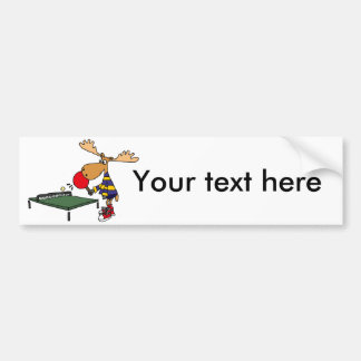 Funny Moose Playing Table Tennis Cartoon Bumper Sticker